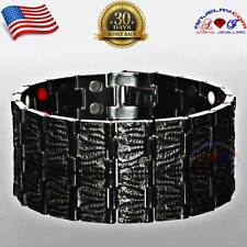 PURE TITANIUM 34X BIO MAGNETIC BRACELET MEN BLACK 4 IN1 GERMANIUM ARTHRITIS T07B