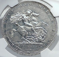 1820 GREAT BRITAIN UK King George III Antique Silver CROWN Coin NGC i81741