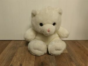 "HTF 10"" Vintage Sitting White Build a Bear Teddy Bear Plush Pink Nose (*89)"
