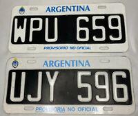 Vintage 90s Argentina Provisorio License Plate Car Buenos Aires Original EUC