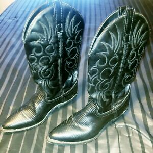 Men's LAREDO BOOTS 9D Black LIZARD SKIN PRINT Leather 9 D Western Cowboy # 68085