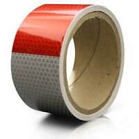 Truck Trailer Conspicuity DOT Safety Reflective Tape, Red/White, 2 x 10'