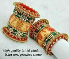 Rajwadi Wedding Dulhan Set Kundan Chura Bridal Bangle Red Green Acrylic Plastic