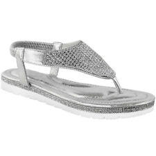 Womens Ladies Low Flat Wedge Diamante Summer Sandals Embellished Low Heel Size