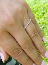 WOMEN'S 14K WHITE GOLD ROUND CUT FOREVER ONE MOISSANITE ENGAGEMENT BAND 0.50CTW