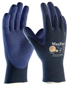 12 x Pairs ATG MaxiFlex Elite Nitrile Dotted Grip Handling Work Gloves (34-244)