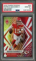 Patrick Mahomes Chiefs 2020 Panini Phoenix Fire Burst Football Card #45 PSA 10