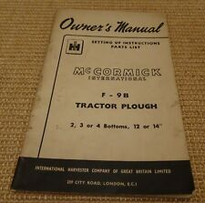 mccormick F-9B Tractor Plough Owner's Manual