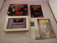 No Escape  (Super Nintendo SNES, 1994) COMPLETE w/ Box manual game WORKS! #L1