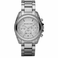 Michael Kors NEW MK5165 Silver Tone Blair CHRONOGRAPH Glitz Ladies Wrist Watch