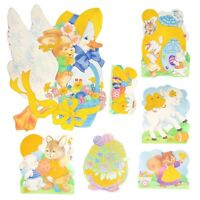Vtg Easter Paper Die Cut Decoration Lot Of 7 Flocked Yellow Areas Double Sided