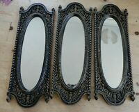VINTAGE HOLLYWOOD REGENCY GOLD BLACK DART HOMCO 3 MIRROR SET FRENCH FARMHOUSE