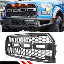 FOR 2015-2017 FORD F150 FRONT HONEYCOMB MESH RAPTOR STYLE GRILL W/ LED LIGHT