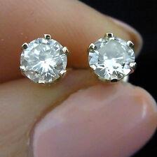 Vintage .95 carat Diamonds 14k Yellow Gold Stud Earrings Estate