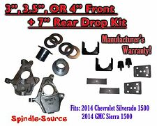 "2014 Chevrolet Chevy Silverado / GMC Sierra 1500  3"" - 4"" / 7"" Lowering Drop kit"