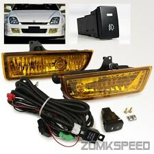 For 97-01 Honda Prelude JDM Yellow Glass Lens Fog Lights Bumper Driving Lamps