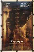 """SEVEN Original 27"""" X 41"""" Double Sided/Rolled Movie Poster - BRAD PITT - 1995"""