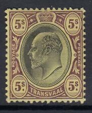 Transvaal 1902 5s Black & Purple-Yellow SG254 Fine Mtd Mint