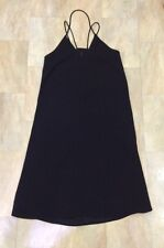 H&M Loose Black Party Dress Mesh Panel Knee Length / Midi Strappy, Size 8
