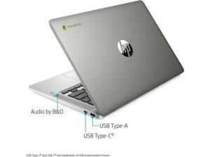 "HP 14"" Chromebook 14a-na0010nr Laptop Computer Intel Celeron 32GB Mineral Silver"
