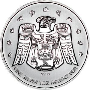 Canada 1 oz Silver 2009 Thunderbird Totem Vnacouver Olympics .9999 Fine BU Coin
