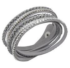Slake Crystal Wrap Bracelet made w Swarovski Crystal Gray Alcantara ® Leather