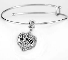 Fighter bracelet  kempo  martial arts best jewelry gift  crystal heart charm