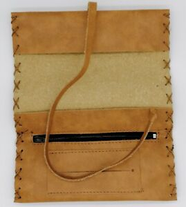 Pouch Cigarette Bag Tobacco Roll up Paper Smoke Light Brown Leather Case String