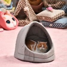 Pet Cat Pup Cubby Cozy Cave Bed Kennel Basket Cushion House Removable Mat Bed