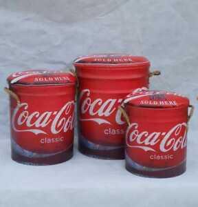Retro Metal Storage Drum Stool Bar Man Cave Seat Container Set of 3 Coca Cola