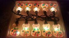 Glass Bear Christmas Lights Teddy Bear light set Holiday Time 10 ct.