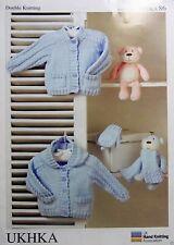 Ukha 86 Double Knitting Boys little hoody cardigan & mittens leaflet