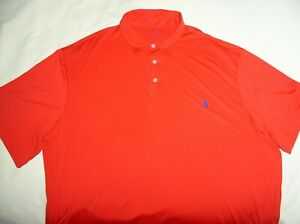 RALPH LAUREN Polo Performance Shirt,2XL,TALL,Red,Poly Stretch,Active,X-Cond,2XLT