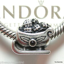 PANDORA 925 ALE SILVER SANTA'S SLEIGH WITH GARNET CHARM #790562GA -BOX OPTION