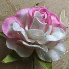 3.5 CM W/PINK ROSES MULBERRY PAPER FLOWER CRAFTS WEDDING SCRAPBOOK CARD DIY
