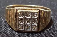 9 carat solid gold & diamond vintage Art Deco antique ring - size O