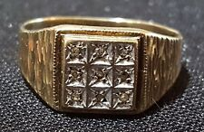 Art Deco antique ring - size O 9 carat solid gold & diamond vintage