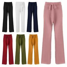 New Womens Pleated Crepe Crinkle Belted Full Wide Palazzo Trousers Bottoms