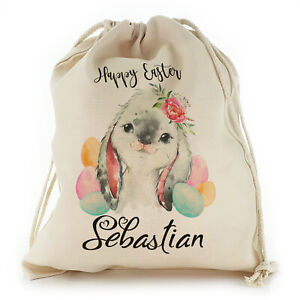 Personalised Easter Gift Bag with Name, Bunny Drawstring bag, Egg Hunt Sack