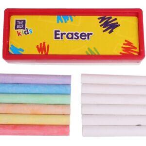 25Pc KIDS CHALK & BLACKBOARD SET Arts & Crafts Drawing Memo Board & Eraser UK