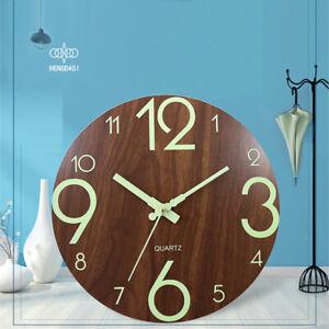 "12"" Wooden Wall Clock Round Luminous Quartz Silent Clocks Glow Home Office Decor"
