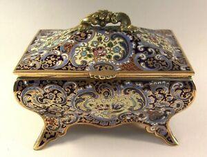 Antique French Champleve Enamel Ormolu Jewelry Box