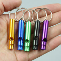 2x Camping Hiking Survival Aluminum Alloy Emergency Whistle With Keyring