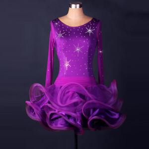 Latin Ballroom Dance Dress Modern Salsa Waltz Standard Long Dress#F153