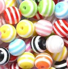 12 Striped Plastic Round Beads 12mm with 2mm holes for Kid or Adult Crafts New