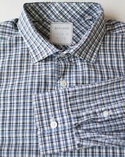 Billy Reid Navy Blue White Check Shirt 100% Cotton Made in Italy XL