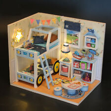 DIY Wooden Dollhouse Room Miniature Kit with LED Light Furniture Kids Toy