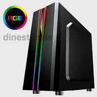 CiT Zoom Computer Gaming PC Case Midi ATX Tower USB 3.0 RGB LED Tempered Glass