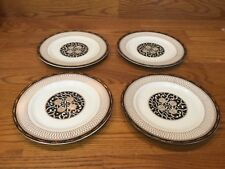 4 Rare Royal Tapestry by Georges Briard 7 1/2� Salad Plates ~ Black/Gold