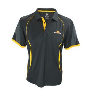 Kubota Branded Mens Black/Yellow Great Plains Polyester Sports Interlock Polo